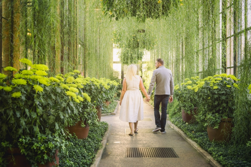 Marina and Brian Longwood Gardens PA Engagement Photographers