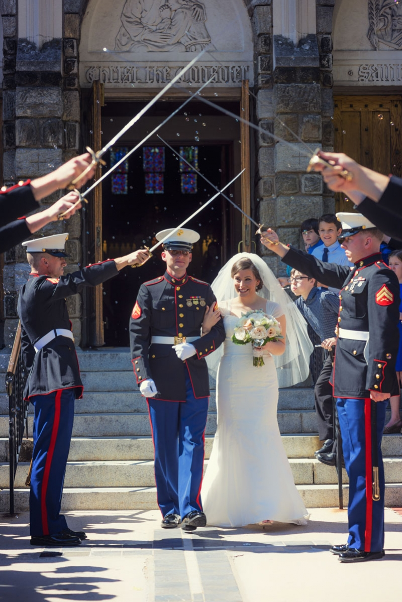 Amanda and Kyle West Chester Pennsylvania Marine Wedding at St Agnes Church