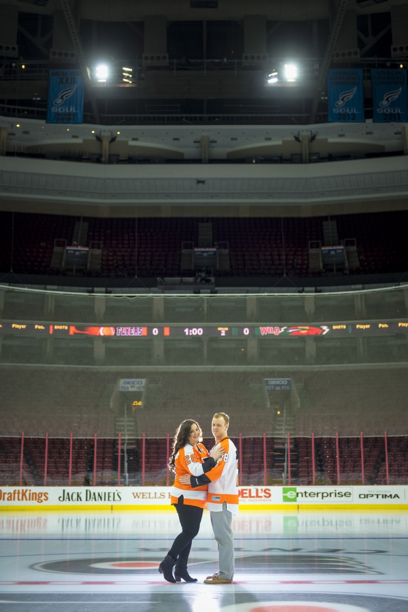 On-ice Philadelphia Flyers Engagement Session