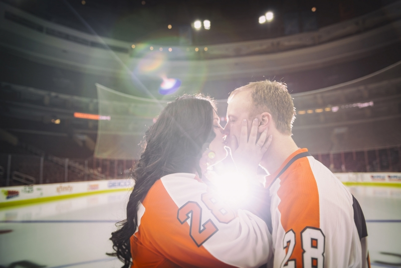 Ally and Pat on-ice Philadelphia Flyers Engagement