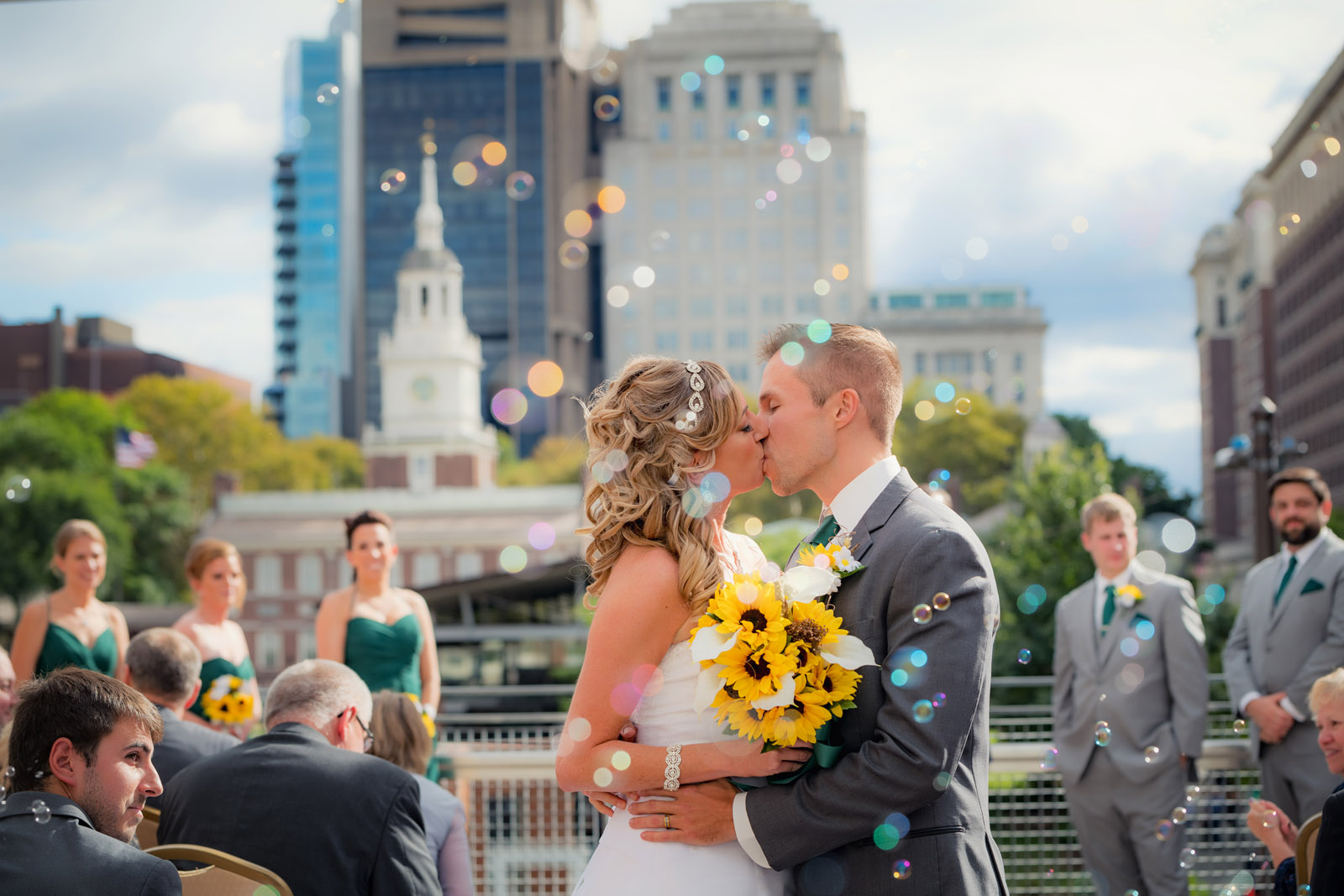 Philadelphia Eagles Liberty View at Independence Hall wedding of Jessie and Matt